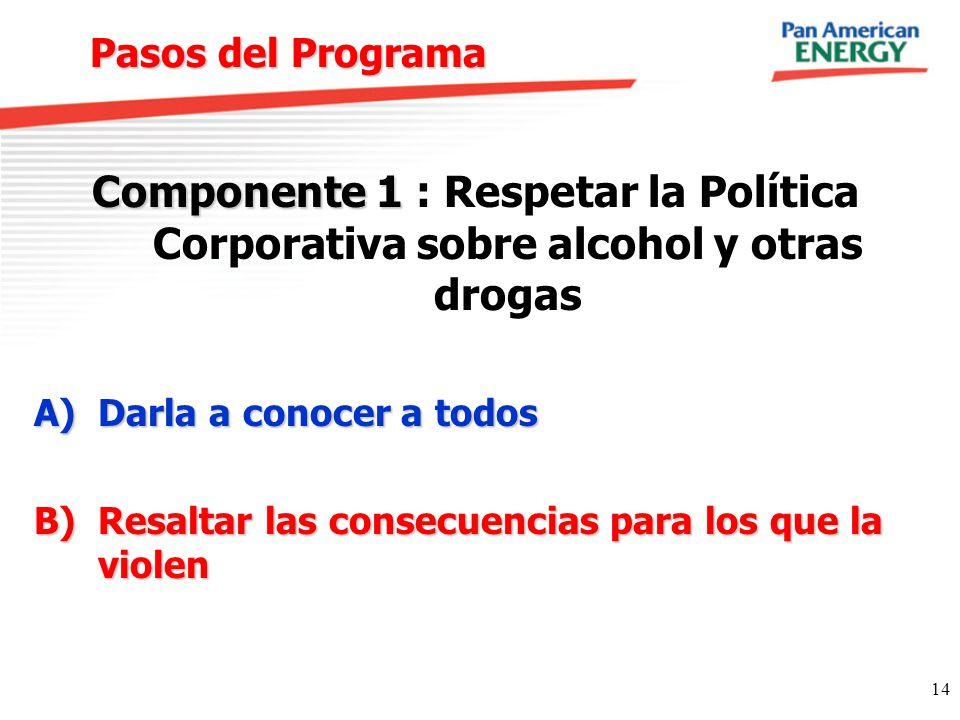 Pasos del Programa Componente 1 : Respetar la Política Corporativa sobre alcohol y otras drogas. Darla a conocer a todos.