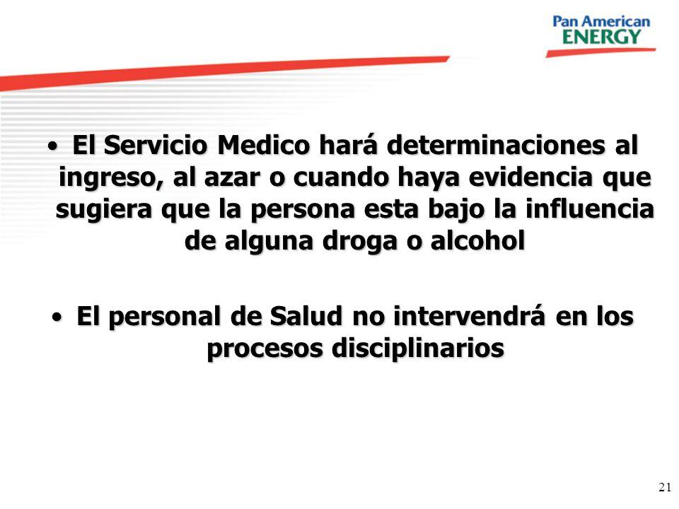 El personal de Salud no intervendrá en los procesos disciplinarios