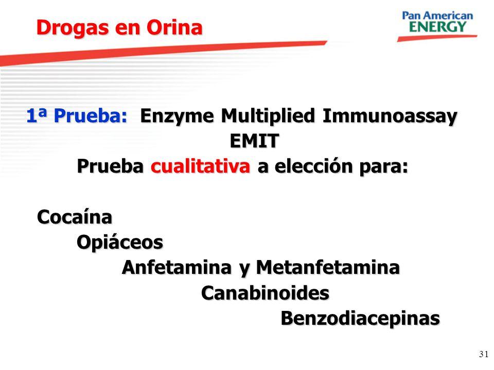Drogas en Orina 1ª Prueba: Enzyme Multiplied Immunoassay EMIT
