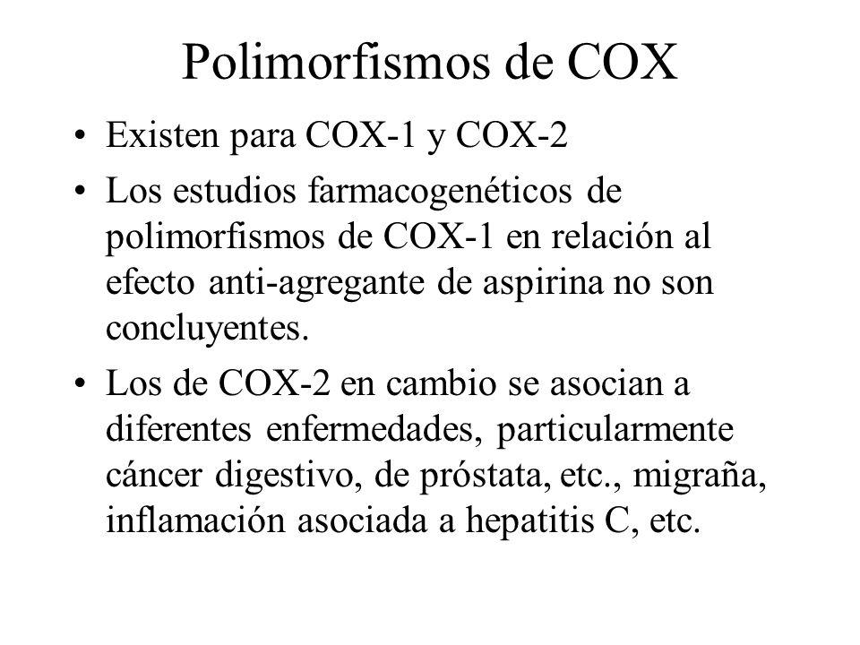 Polimorfismos de COX Existen para COX-1 y COX-2