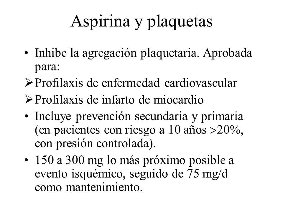 Aspirina y plaquetas Inhibe la agregación plaquetaria. Aprobada para: