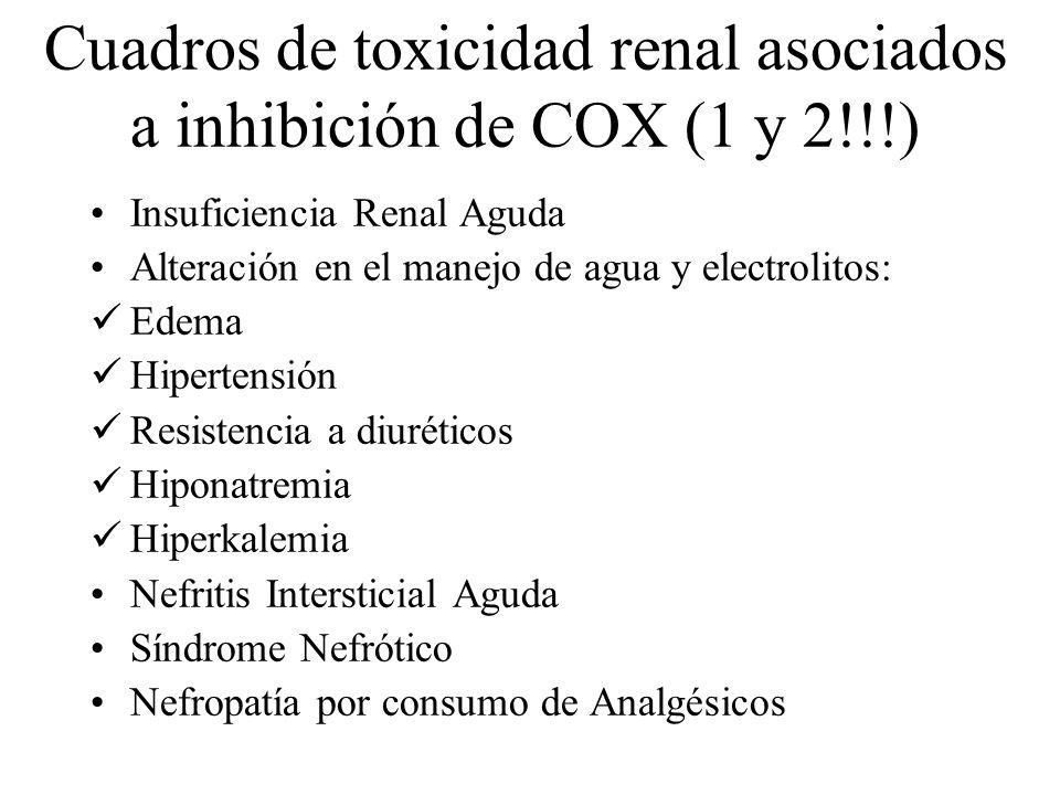 Cuadros de toxicidad renal asociados a inhibición de COX (1 y 2!!!)