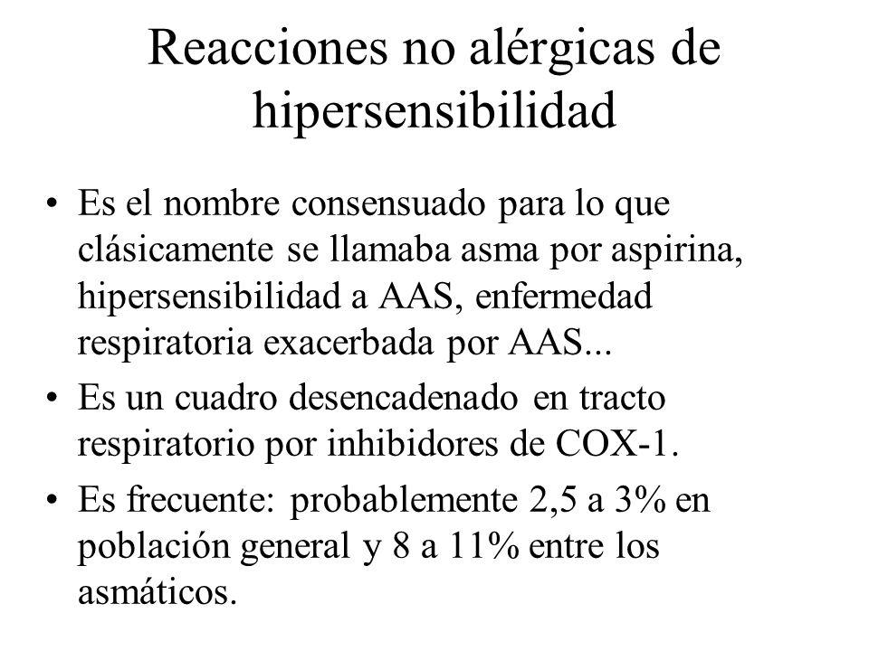 Reacciones no alérgicas de hipersensibilidad