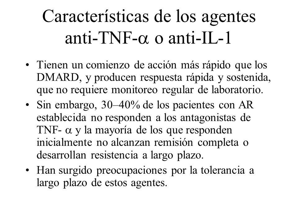 Características de los agentes anti-TNF- o anti-IL-1