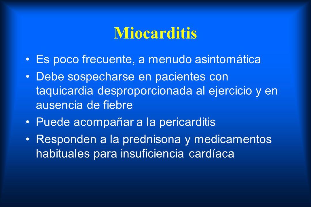 Miocarditis Es poco frecuente, a menudo asintomática