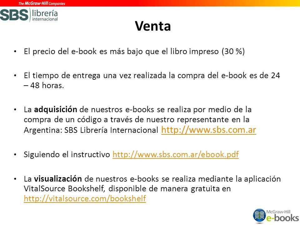 Venta El precio del e-book es más bajo que el libro impreso (30 %)