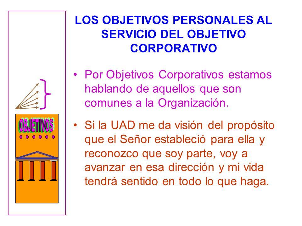 LOS OBJETIVOS PERSONALES AL SERVICIO DEL OBJETIVO CORPORATIVO
