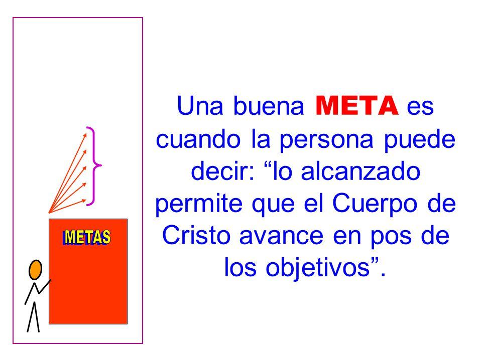 Una buena META es cuando la persona puede decir: lo alcanzado permite que el Cuerpo de Cristo avance en pos de los objetivos .