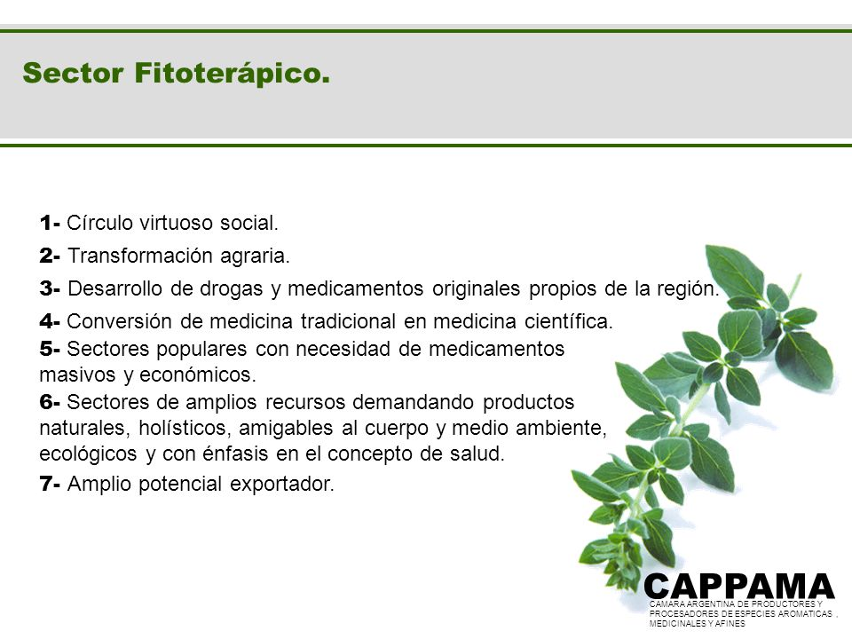 CAPPAMA Sector Fitoterápico. 1- Círculo virtuoso social.