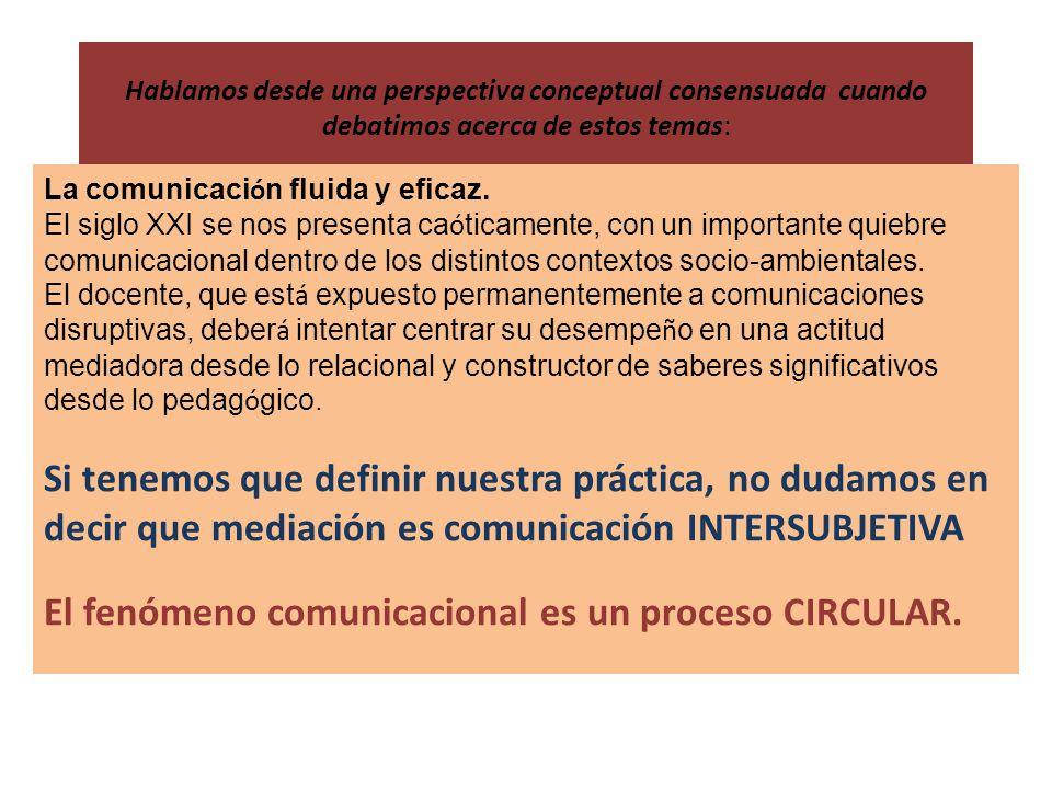 El fenómeno comunicacional es un proceso CIRCULAR.