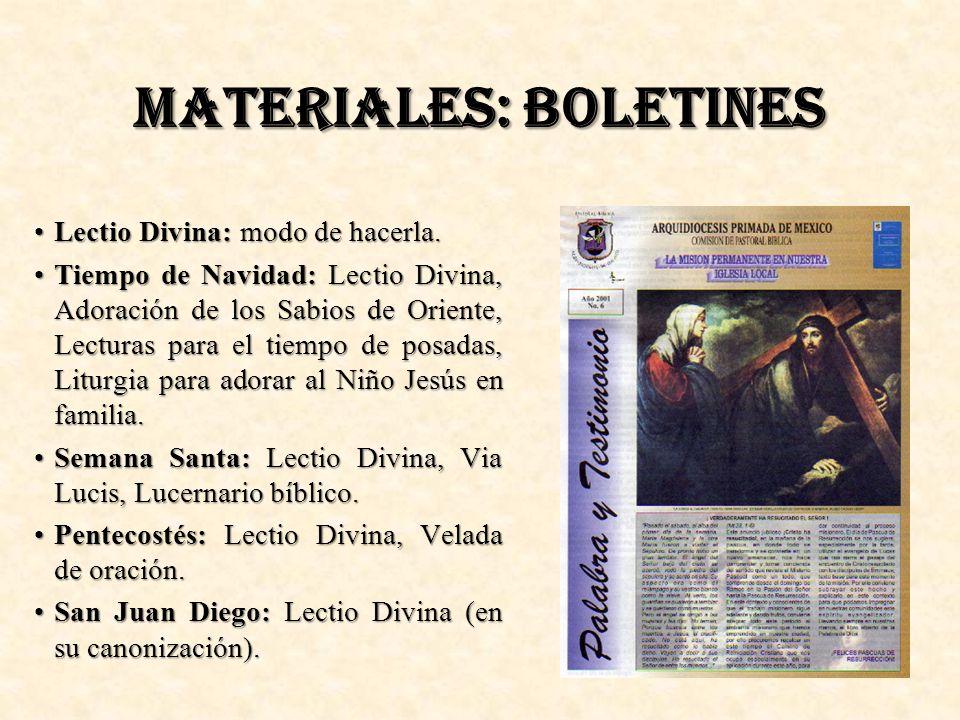 MATERIALES: BOLETINES