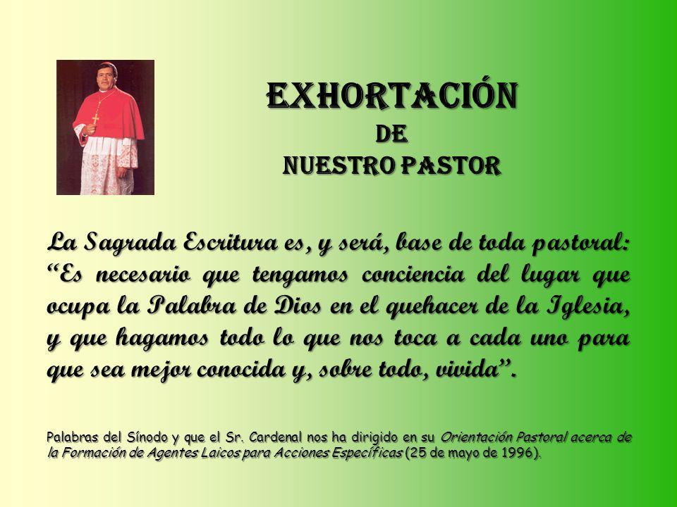 EXHORTACIÓN DE NUESTRO PASTOR