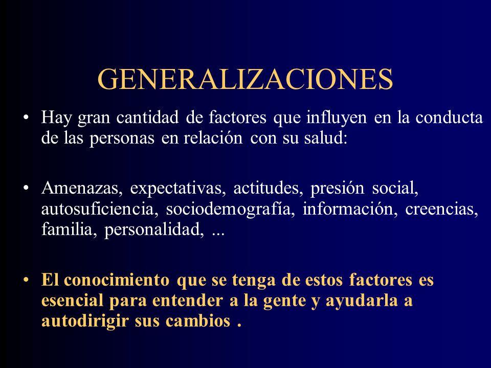 GENERALIZACIONES Hay gran cantidad de factores que influyen en la conducta de las personas en relación con su salud: