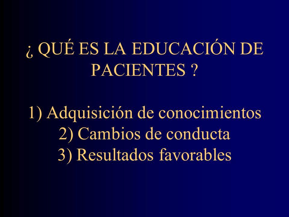 ¿ QUÉ ES LA EDUCACIÓN DE PACIENTES