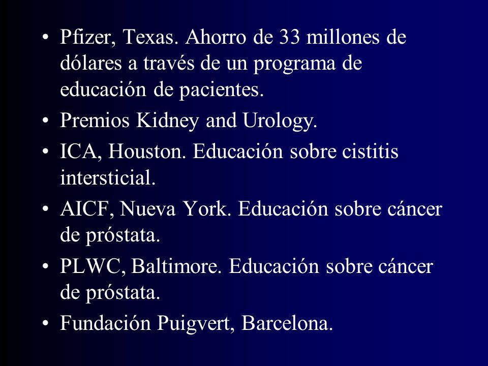 Pfizer, Texas. Ahorro de 33 millones de dólares a través de un programa de educación de pacientes.