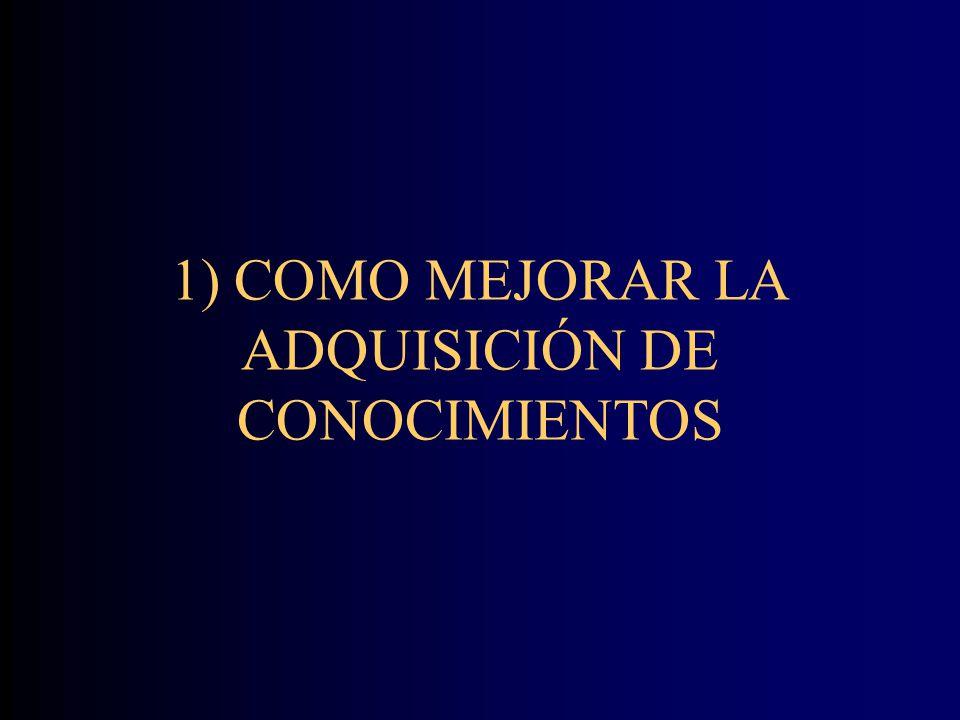 1) COMO MEJORAR LA ADQUISICIÓN DE CONOCIMIENTOS