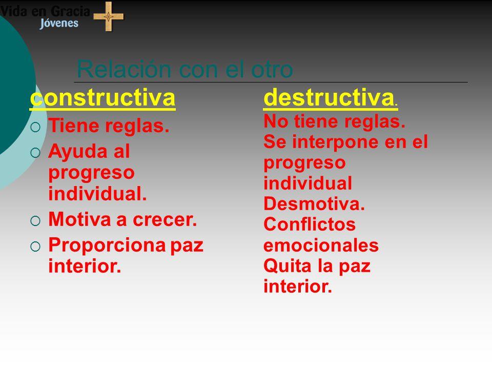 Relación con el otro constructiva destructiva. Tiene reglas.