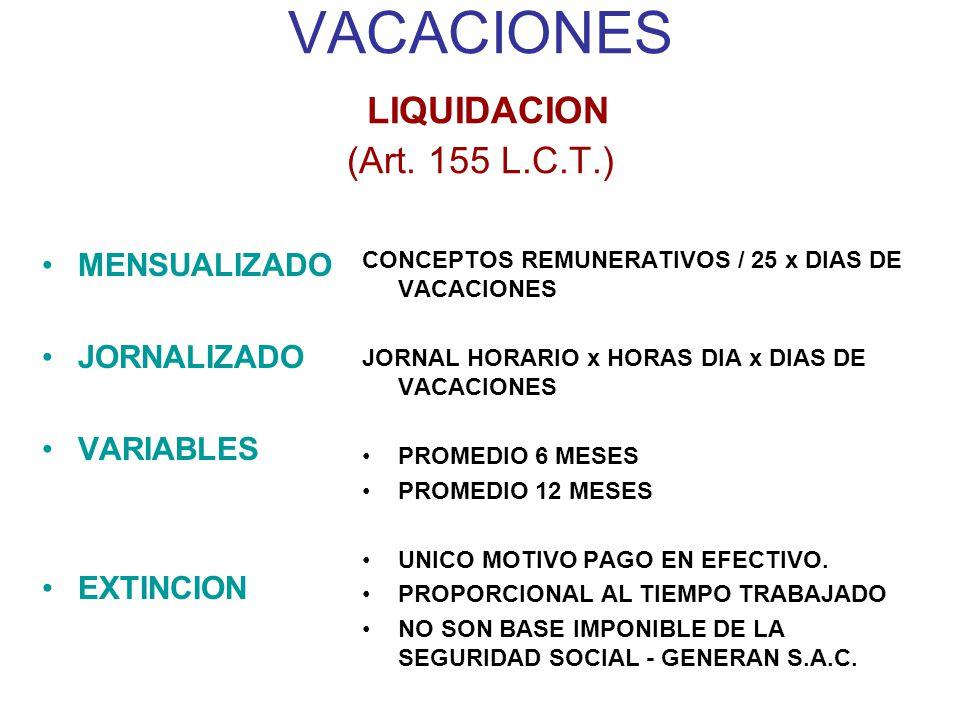 VACACIONES LIQUIDACION (Art. 155 L.C.T.)