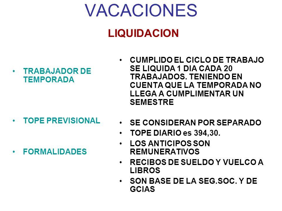 VACACIONES LIQUIDACION