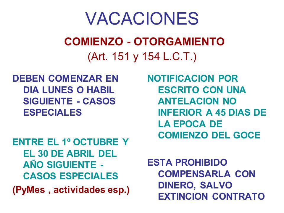 VACACIONES COMIENZO - OTORGAMIENTO (Art. 151 y 154 L.C.T.)