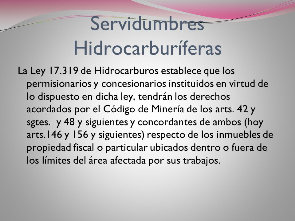 Servidumbres Hidrocarburíferas