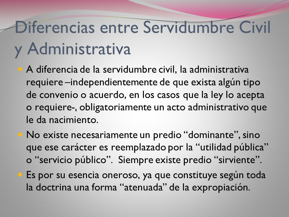 Diferencias entre Servidumbre Civil y Administrativa