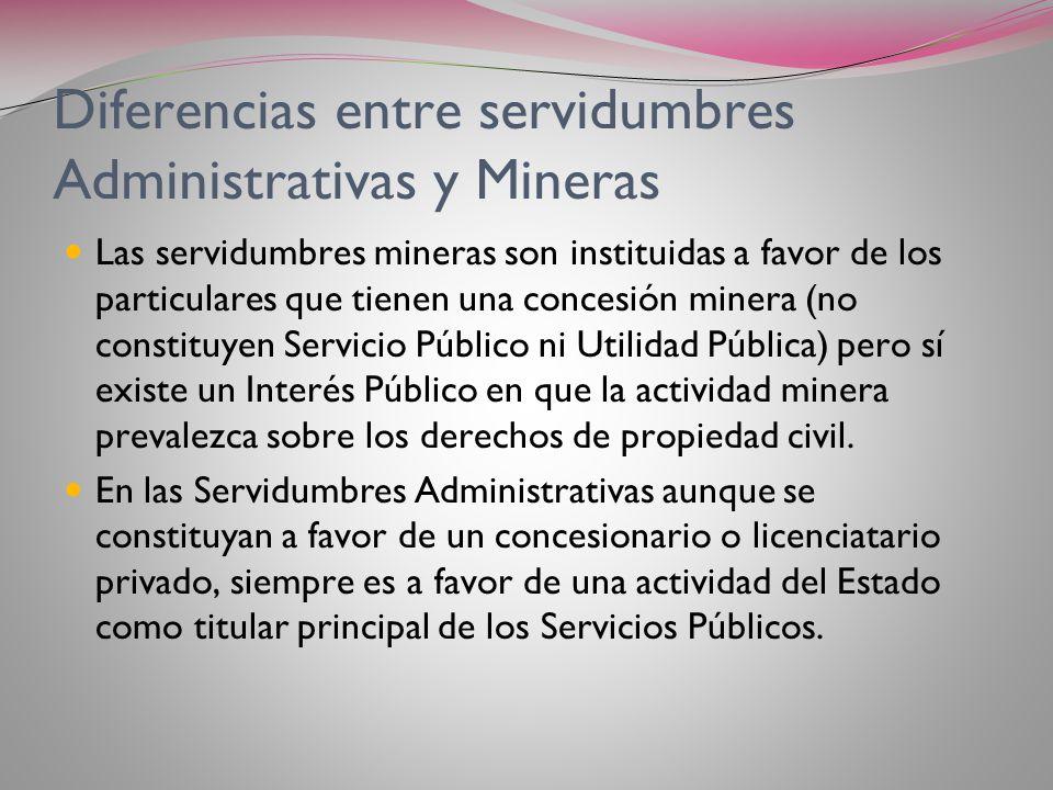 Diferencias entre servidumbres Administrativas y Mineras