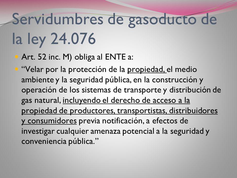 Servidumbres de gasoducto de la ley 24.076