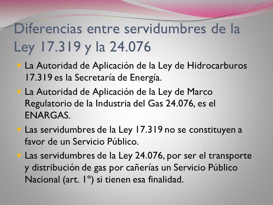 Diferencias entre servidumbres de la Ley 17.319 y la 24.076