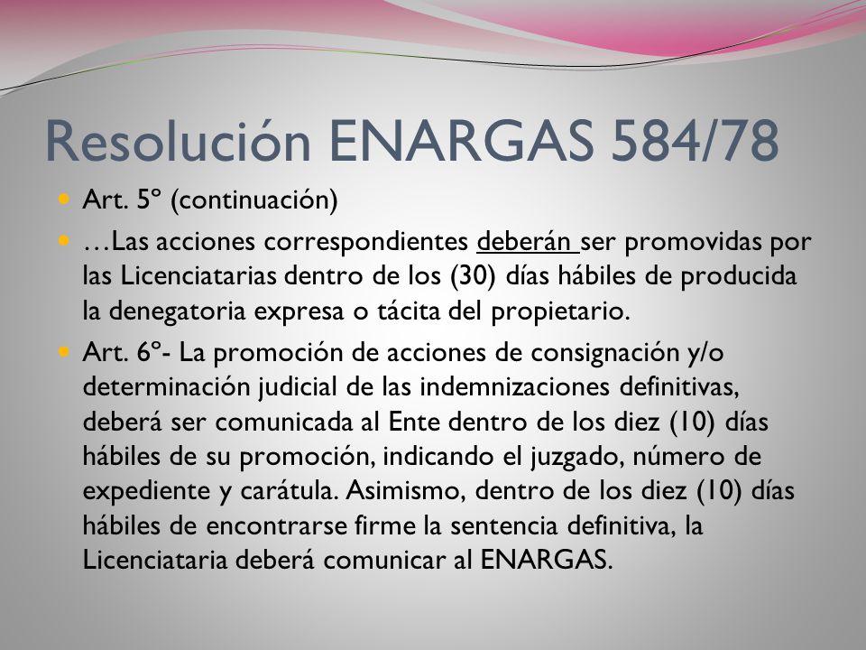 Resolución ENARGAS 584/78 Art. 5º (continuación)