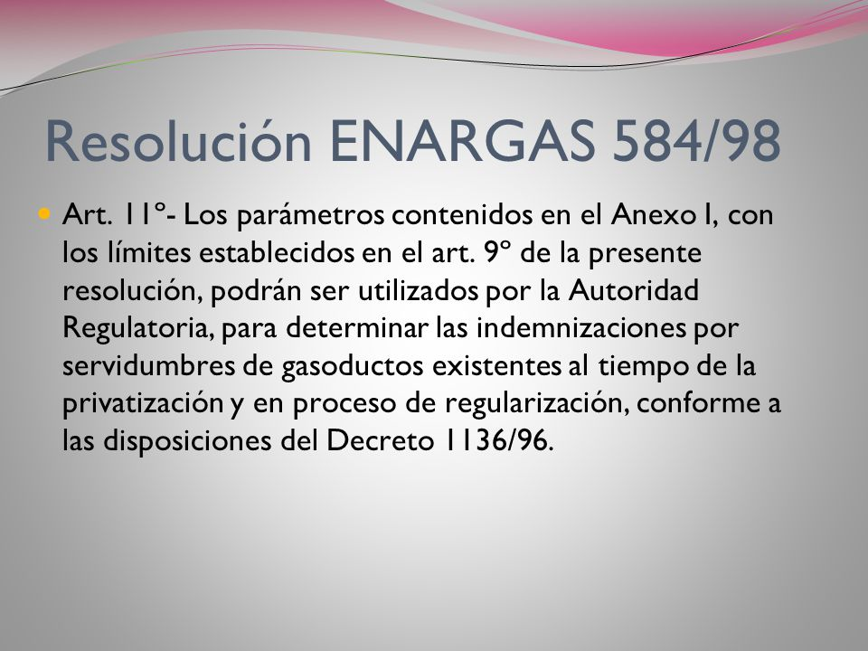 Resolución ENARGAS 584/98