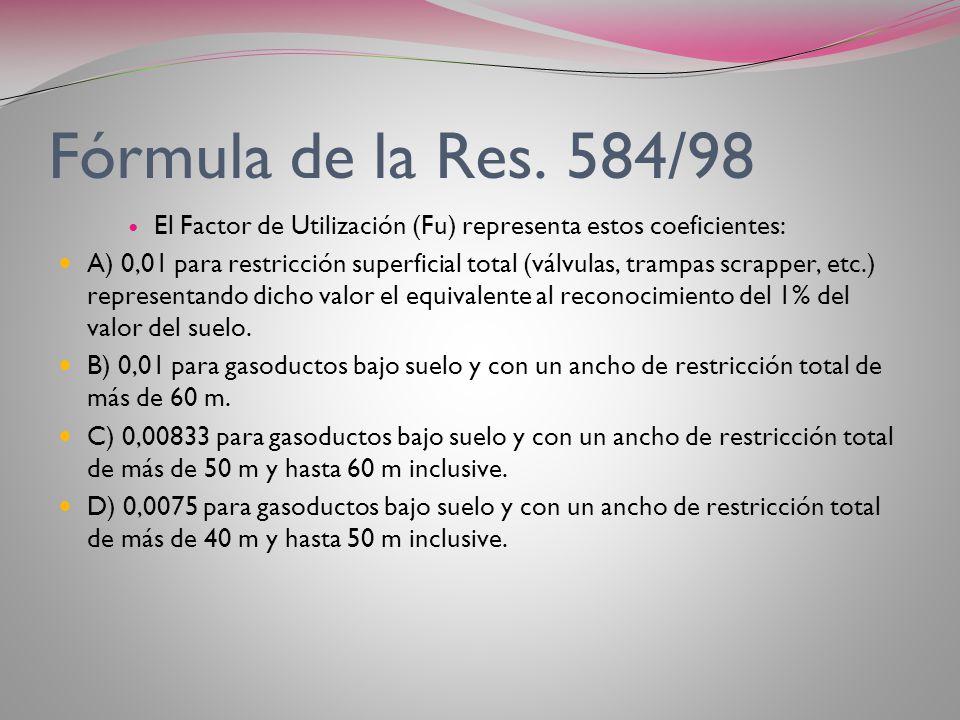 Fórmula de la Res. 584/98 El Factor de Utilización (Fu) representa estos coeficientes: