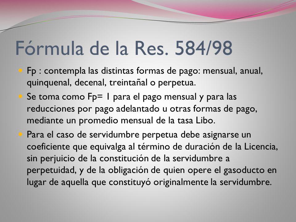 Fórmula de la Res. 584/98 Fp : contempla las distintas formas de pago: mensual, anual, quinquenal, decenal, treintañal o perpetua.