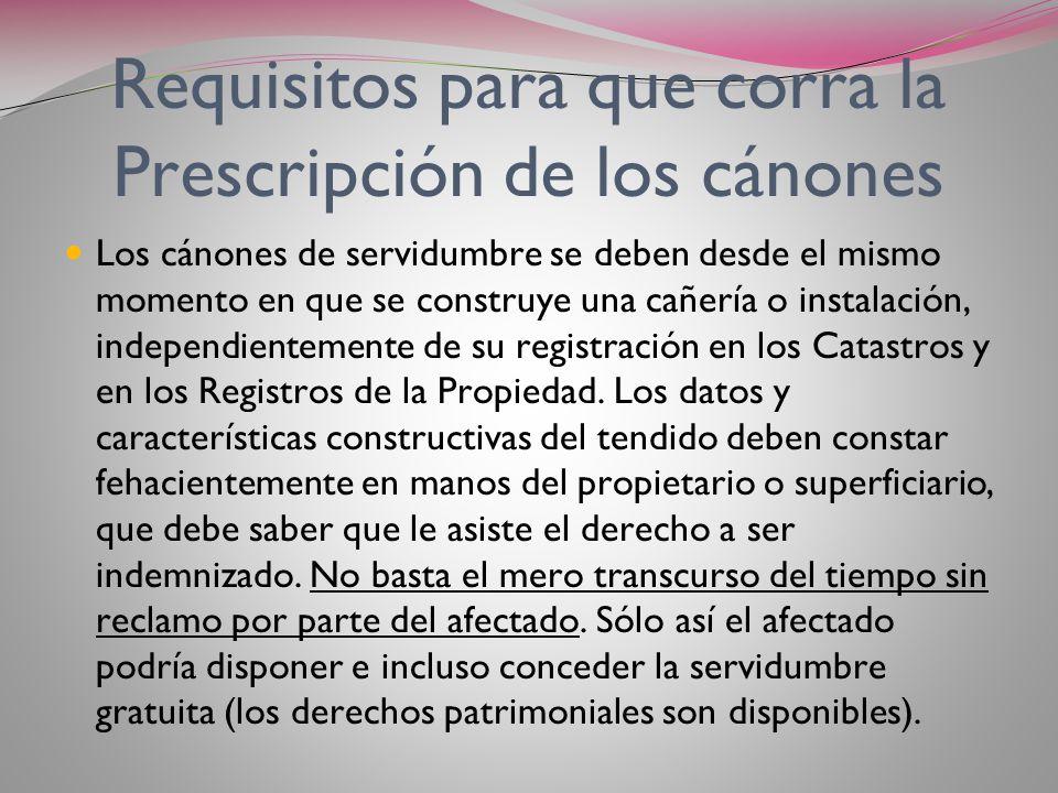 Requisitos para que corra la Prescripción de los cánones
