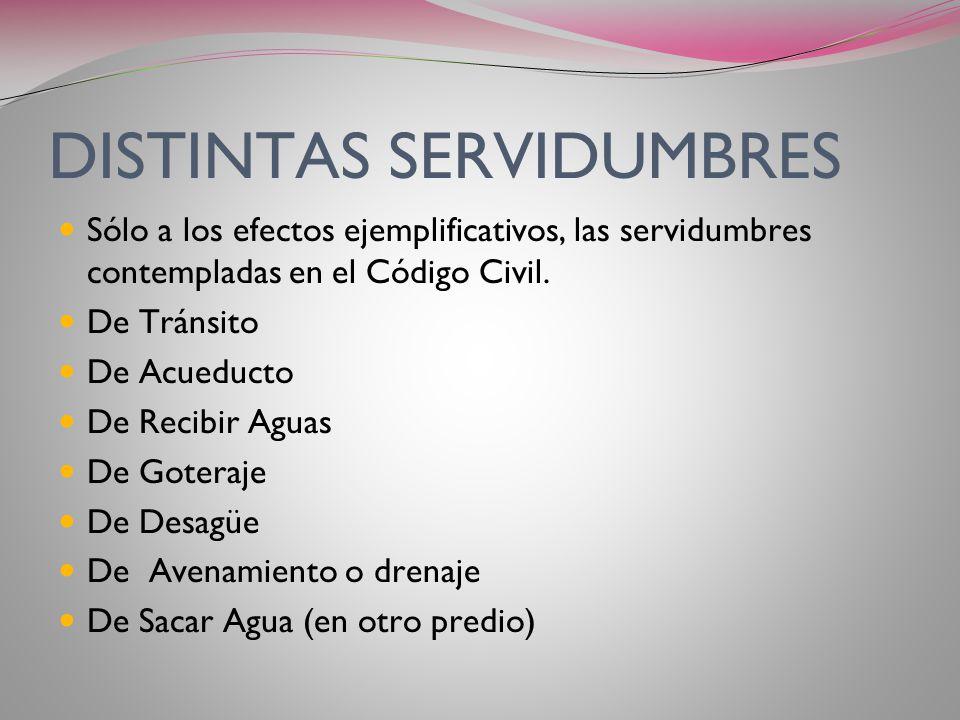 DISTINTAS SERVIDUMBRES
