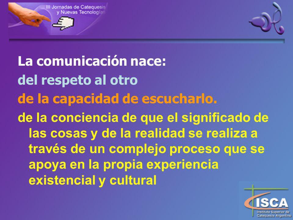 La comunicación nace: del respeto al otro. de la capacidad de escucharlo.