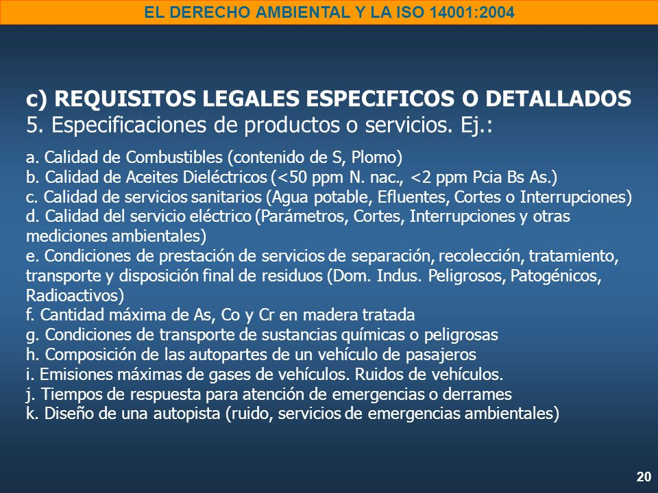 c) REQUISITOS LEGALES ESPECIFICOS O DETALLADOS 5