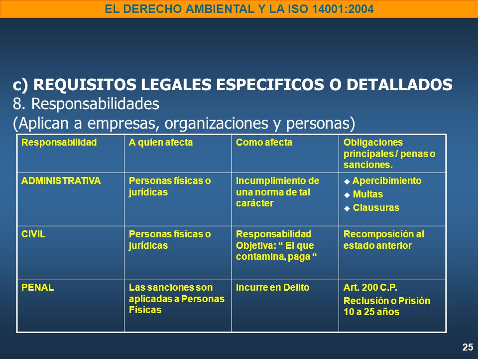 c) REQUISITOS LEGALES ESPECIFICOS O DETALLADOS 8
