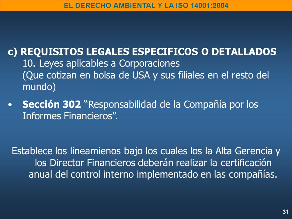 c) REQUISITOS LEGALES ESPECIFICOS O DETALLADOS 10