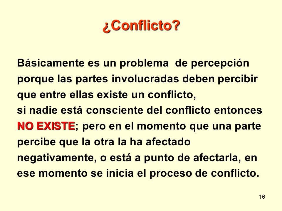 ¿Conflicto Básicamente es un problema de percepción