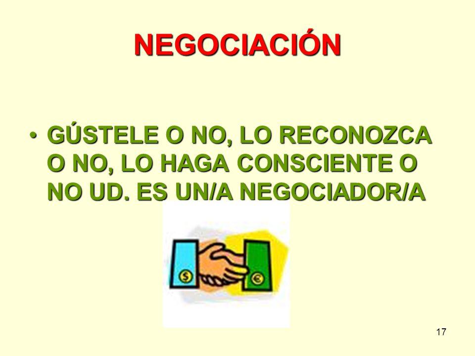 NEGOCIACIÓN GÚSTELE O NO, LO RECONOZCA O NO, LO HAGA CONSCIENTE O NO UD. ES UN/A NEGOCIADOR/A