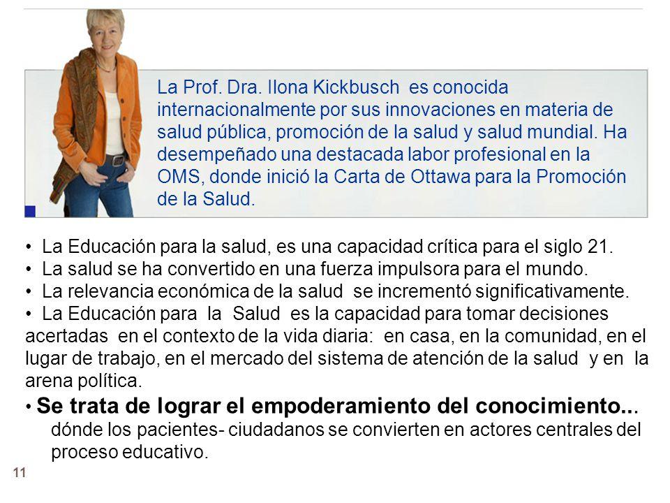 La Prof. Dra. Ilona Kickbusch es conocida internacionalmente por sus innovaciones en materia de salud pública, promoción de la salud y salud mundial. Ha desempeñado una destacada labor profesional en la OMS, donde inició la Carta de Ottawa para la Promoción de la Salud.