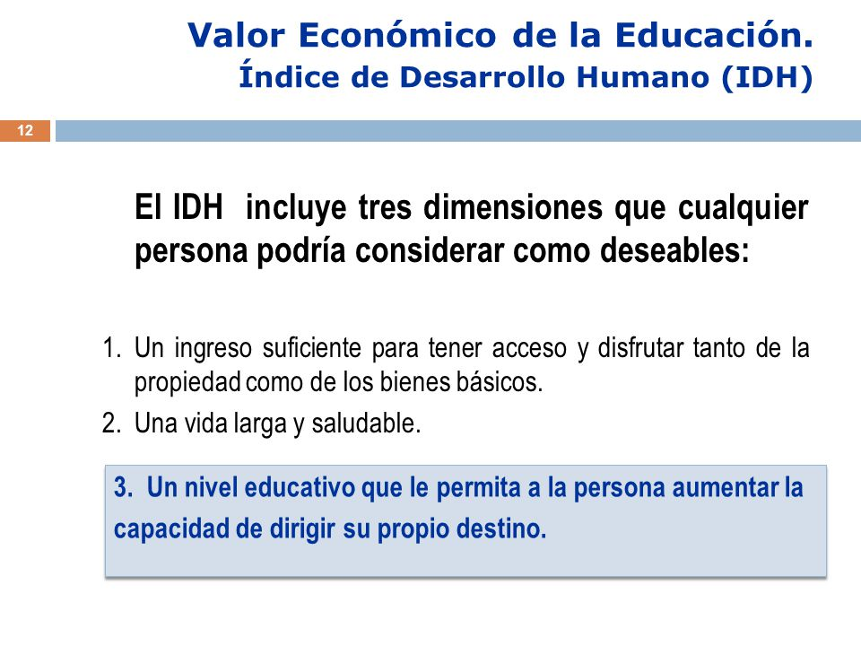 Valor Económico de la Educación.