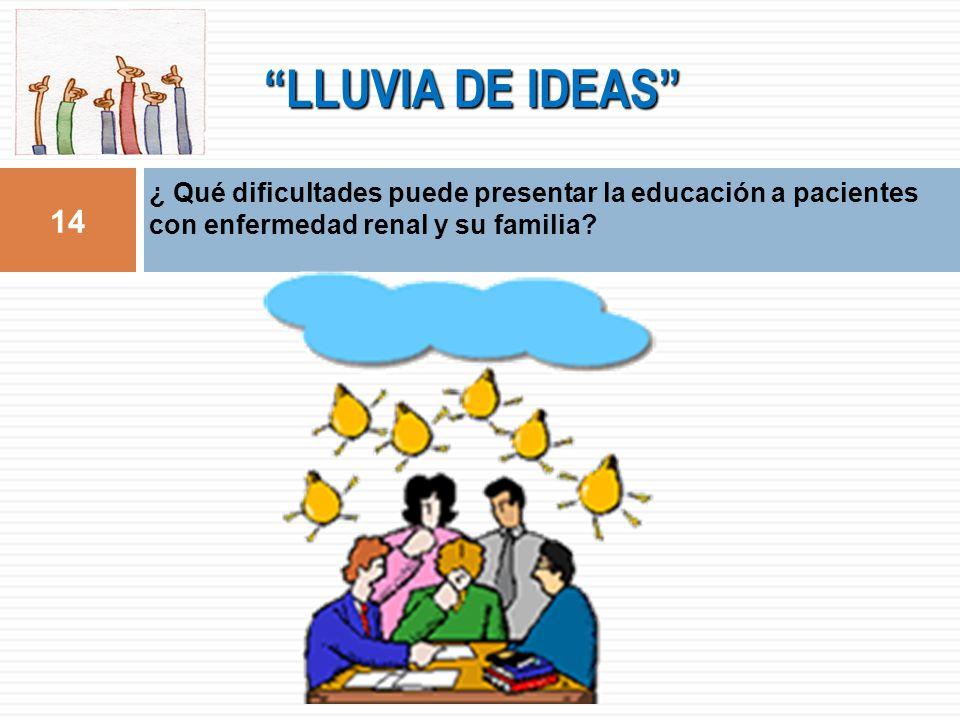 LLUVIA DE IDEAS ¿ Qué dificultades puede presentar la educación a pacientes con enfermedad renal y su familia