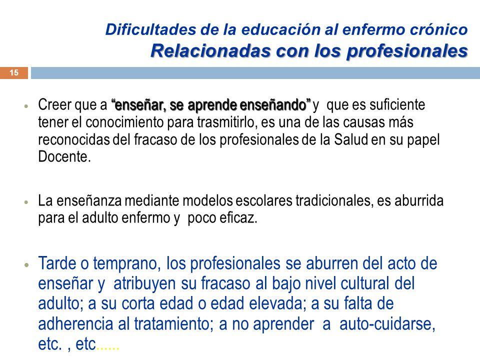 Dificultades de la educación al enfermo crónico Relacionadas con los profesionales