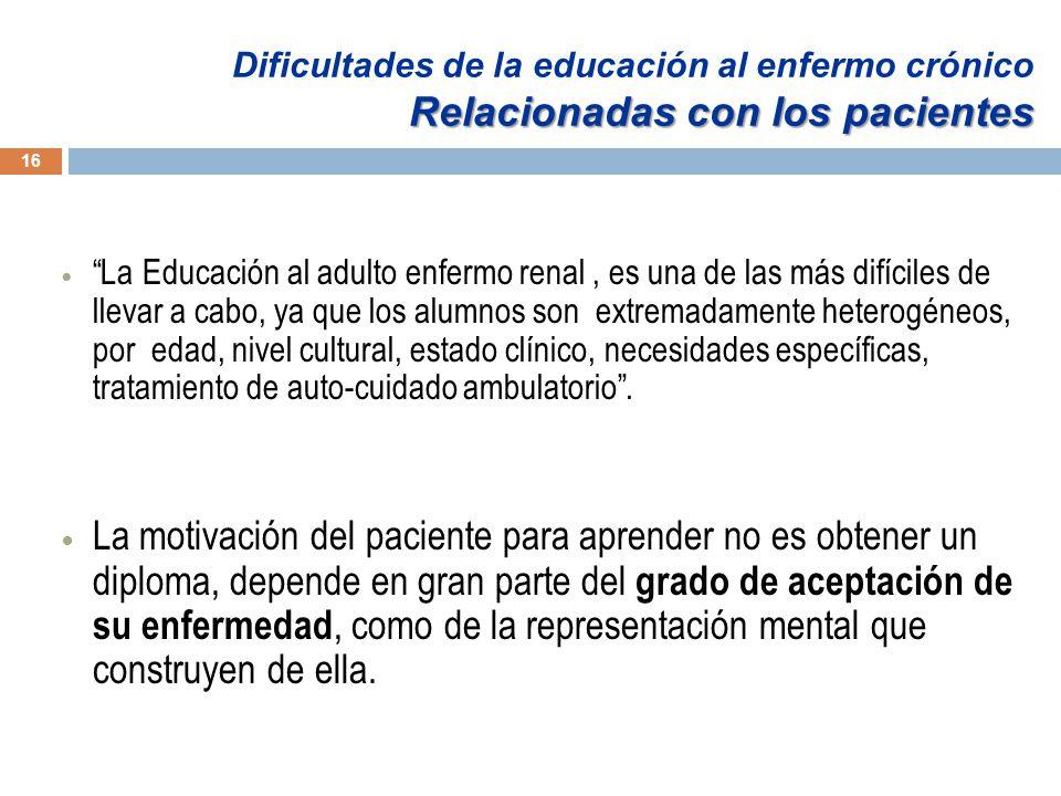 Dificultades de la educación al enfermo crónico Relacionadas con los pacientes