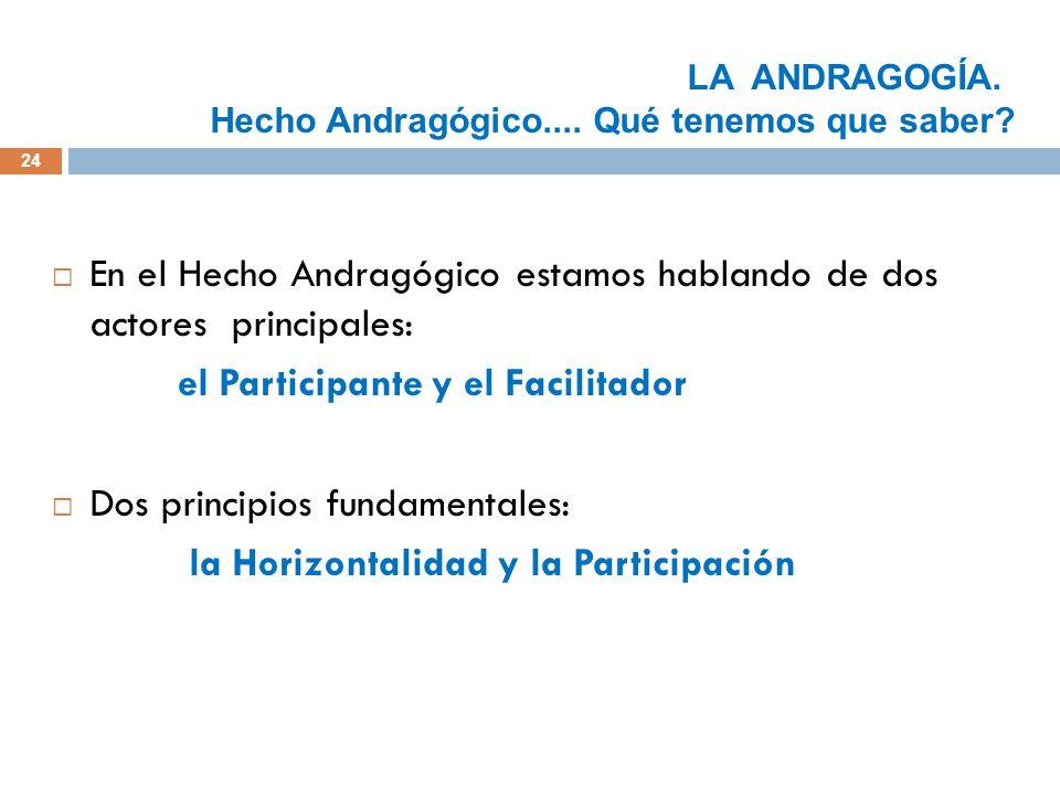 En el Hecho Andragógico estamos hablando de dos actores principales: