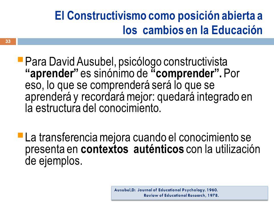 El Constructivismo como posición abierta a los cambios en la Educación