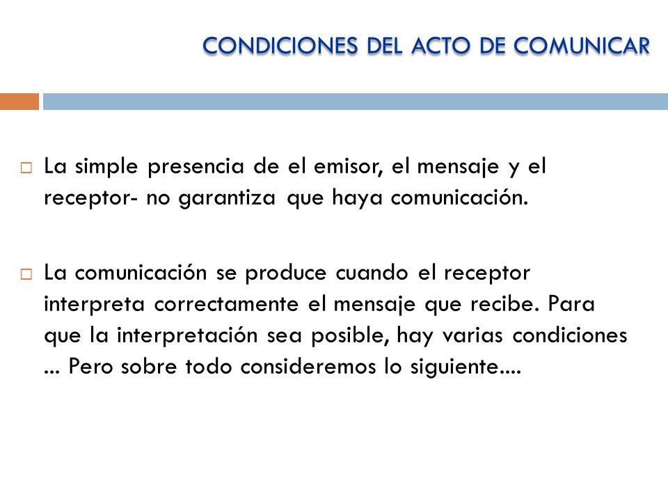 CONDICIONES DEL ACTO DE COMUNICAR