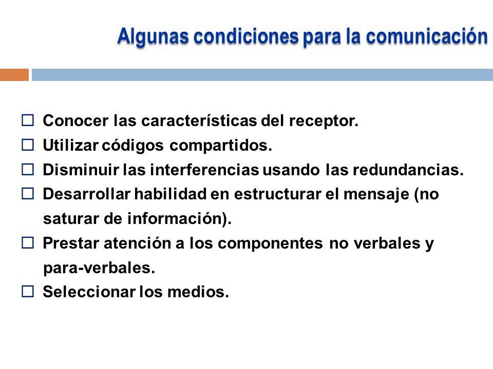 Algunas condiciones para la comunicación
